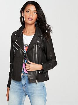 Samsoe & Samsoe Tautou Leather Biker Jacket - Black