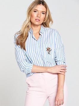 Samsoe & Samsoe Joris Embroidered Shirt - Silver Lake Stripe