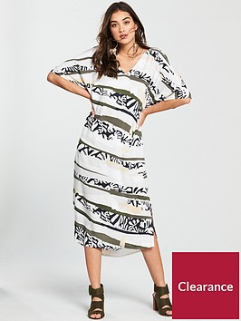 native-youth-printed-v-front-dress-monochrome