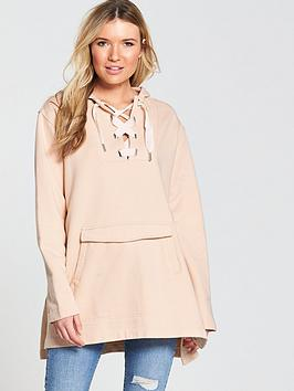 Maison Scotch  Oversized Long Length Sweat Top - Pink Sand