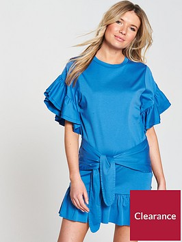 maison-scotch-jersey-dress-with-tie-and-ruffle-detailing-mirage-blue
