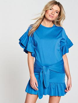 Maison Scotch Jersey Dress With Tie And Ruffle Detailing - Mirage Blue