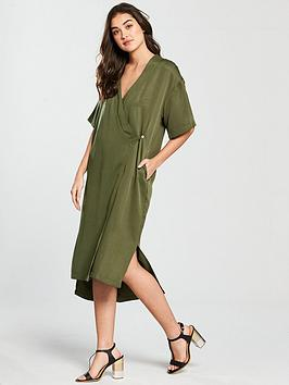 Native Youth Wrap Front Dress - Olive