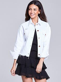 michelle-keegan-distressed-denim-jacket-white