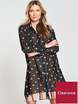 maison-scotch-double-layer-printed-shirt-dress