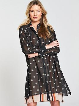 Maison Scotch Double Layer Printed Shirt Dress