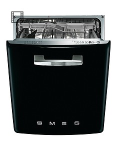 Smeg DI6FABBL 60cm 50s Style Built-In 13-Place Dishwasher with FlexiDuo Baskets - Black Best Price, Cheapest Prices