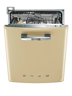 Smeg DI6FABCR 60cm 50s Style Built-in 13-Place Dishwasher with FlexiDuo Baskets - Cream