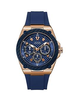 guess-guess-legacy-blue-and-rose-gold-dial-blue-silicone-strap-mens-watch