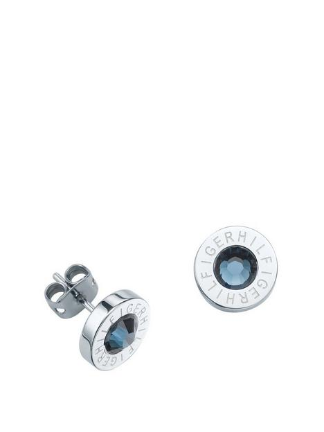 tommy-hilfiger-stainless-steel-and-blue-stone-logo-earrings