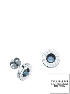 tommy-hilfiger-tommy-hilfiger-stainless-steel-and-blue-stone-logo-earrings