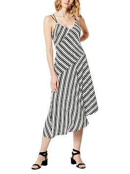 karen-millen-striped-asymmetric-hem-dressnbsp--blackwhite