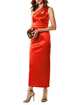 karen-millen-one-shoulder-tucked-pencil-dress-red