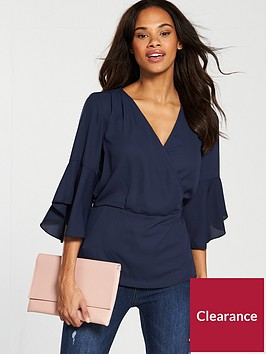 v-by-very-kimono-top-with-fluted-sleeve-navy