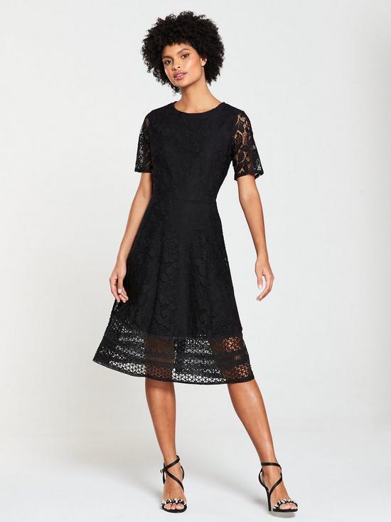 d4e268f6e671 V by Very Lace Jersey Midi Dress - Black