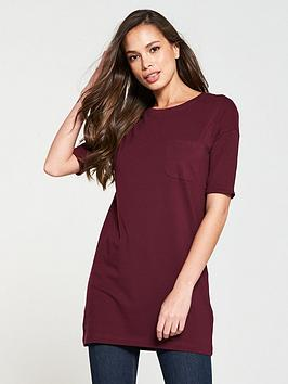 v-by-very-pocket-three-quarter-sleeve-tunic-wine