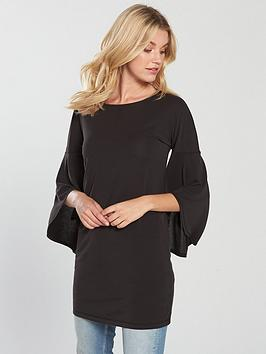 v-by-very-frill-cuff-cupro-tunic-black