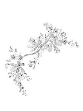 jon richard alan hannah leaf and crystal bead hair clip