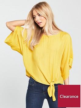 river-island-river-island-knot-front-t-shirt--dark-yellow