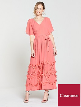 lost-ink-pleated-maxi-dress-with-3d-floral-hem-coralnbsp