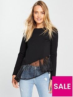 lost-ink-asymmetric-ruffle-hem-top-black