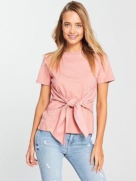 Lost Ink Bow Front T-Shirt - Pink