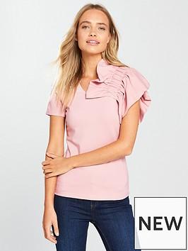 lost-ink-one-shoulder-frill-top-pink