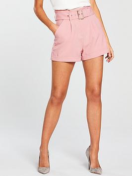 Lost Ink Paperbag Belted Short - Pink
