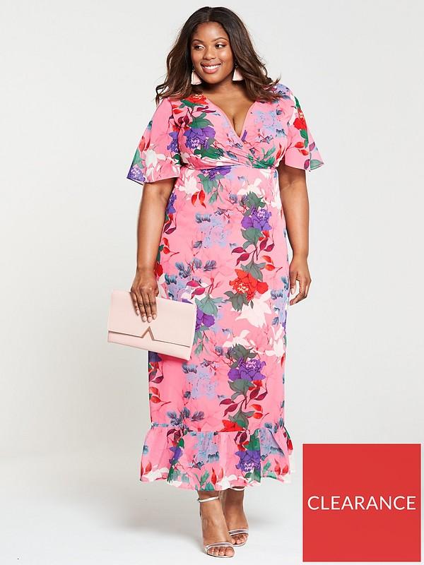 49085e3e36e59e Lost Ink Plus Kimono Maxi Dress - Bright Floral Print | very.co.uk