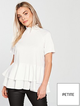 lost-ink-petite-shirred-raglan-double-layer-top-white