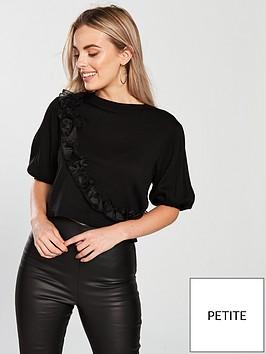 lost-ink-petite-asymmetric-ruffle-short-sleeve-jumper-black