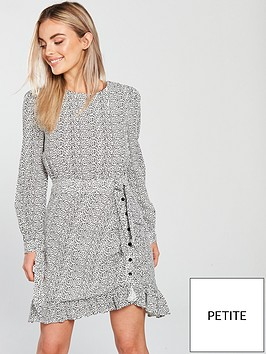 lost-ink-petite-animal-print-mini-dress-grey