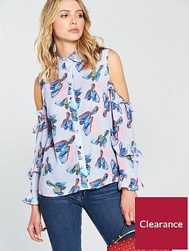lost-ink-bird-print-cold-shoulder-shirt-multi