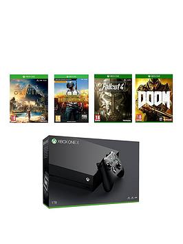 xbox-one-x-console-plus-pubg-assassins-creed-fallout-4-doom-wireless-controller-and-12-months-live