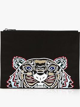 kenzo-canvas-tiger-a4-pouch-black