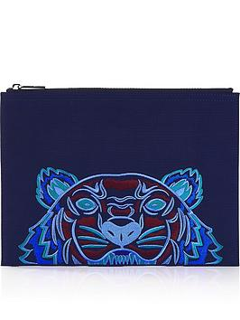 kenzo-canvas-tiger-a4-pouch-blue