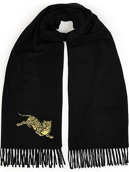 kenzo-jumping-tiger-wool-scarf-black
