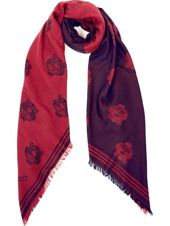 591f383ca0 Tiger Print Two Tone Scarf - Red/Navy