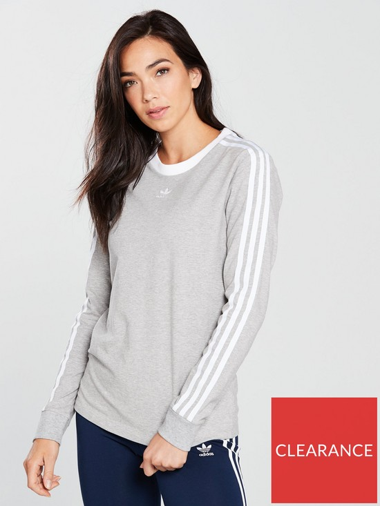 cb7d8350fa54 adidas Originals 3 Stripes Long Sleeve Top - Medium Grey Heather ...