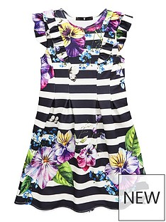 v-by-very-girls-stripe-floral-pleated-dress