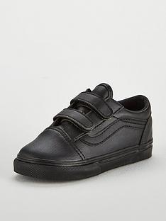 Vans Old Skool Leather Infant Trainer - Black ef5eb2143