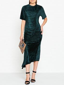 kenzo-drapednbspvelvet-midi-dress-dark-green