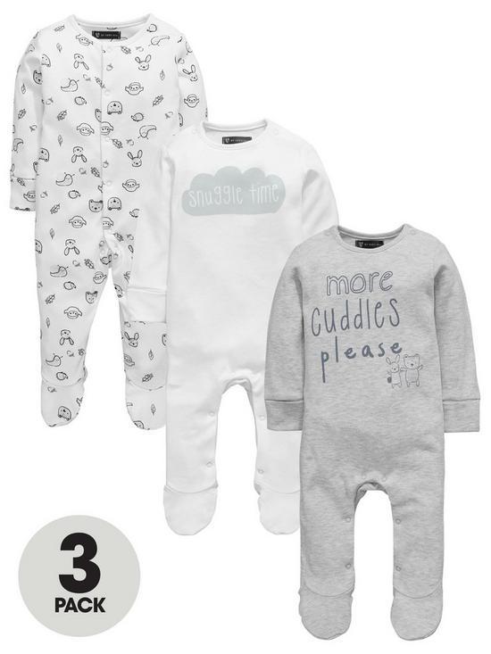 9b68157ad Mini V by Very Baby Unisex 3pk Slogan   Animal Sleepsuits