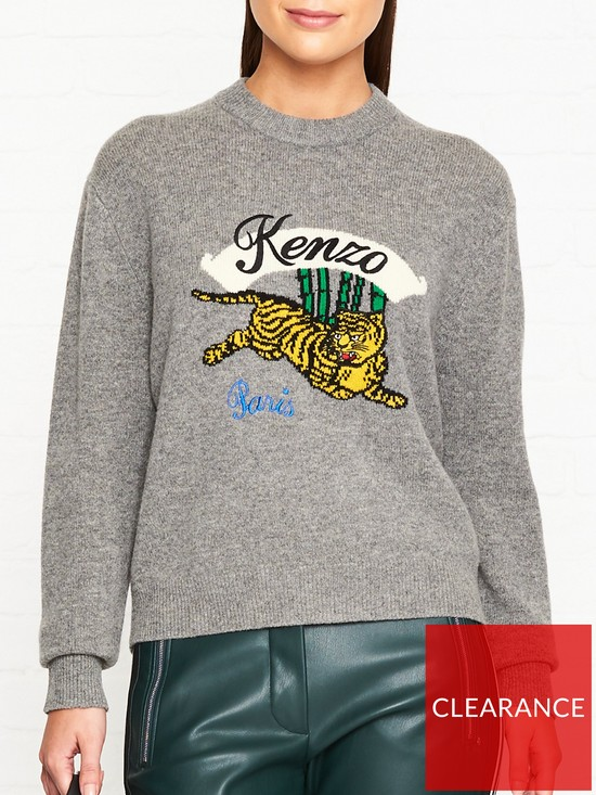 7c33212f Kenzo Jumping Tiger Intarsia Jumper - Grey | very.co.uk