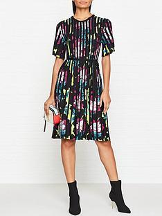 kenzo-floral-rib-knit-short-sleeve-flare-dress-multicolour