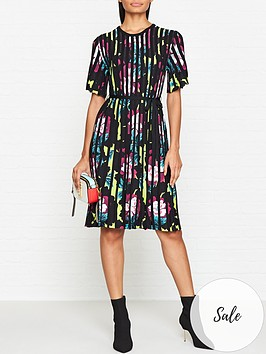 kenzo-floral-rib-knit-short-sleeve-flare-dress-multicolour