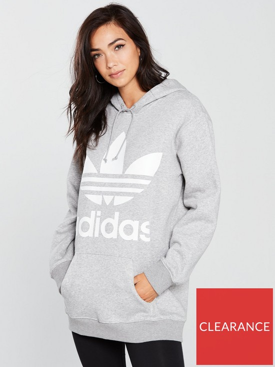 purchase cheap 0b48f cb763 adidas Originals Boyfriend Trefoil Hoodie - Medium Grey Heather
