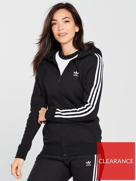 645b674e adidas Originals 3 Stripe Zip Through Hoodie - Black   very.co.uk