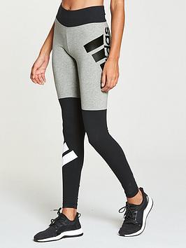 Adidas Colourblock Logo Tight - Grey Heather/Black