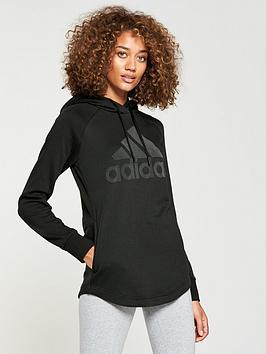 Adidas Dipped Hem Hoodie - Black